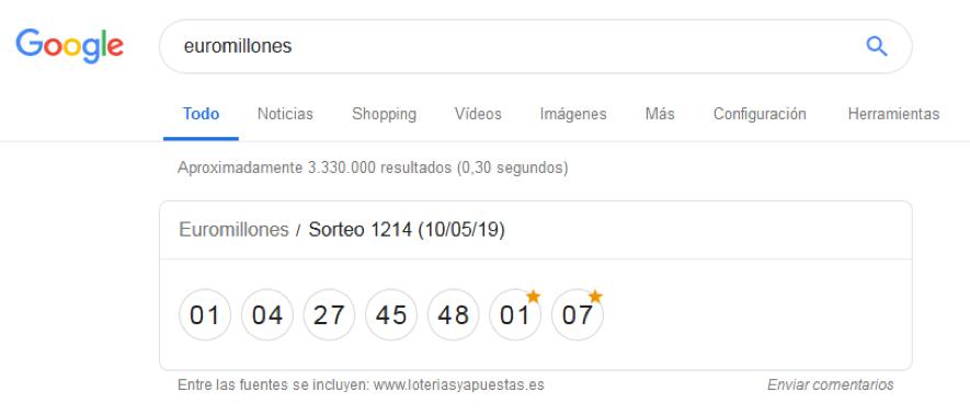 Un ejemplo de rich snippet de Google: caja con los resultados premiados del sorteo de Euromillones
